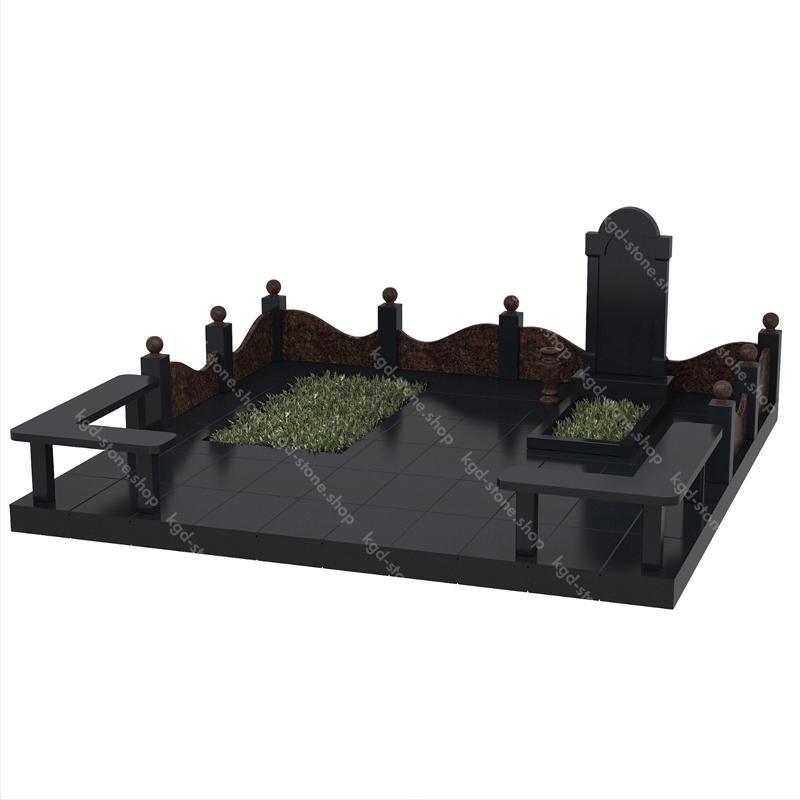 Купить комплекс гранитный из Дымовского гранита и Габбро-Диабаза на могилу с доставкой