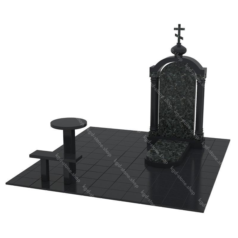 Купить комплекс гранитный из Габбро-Диабаза и зеленого пироксенита на могилу с доставкой