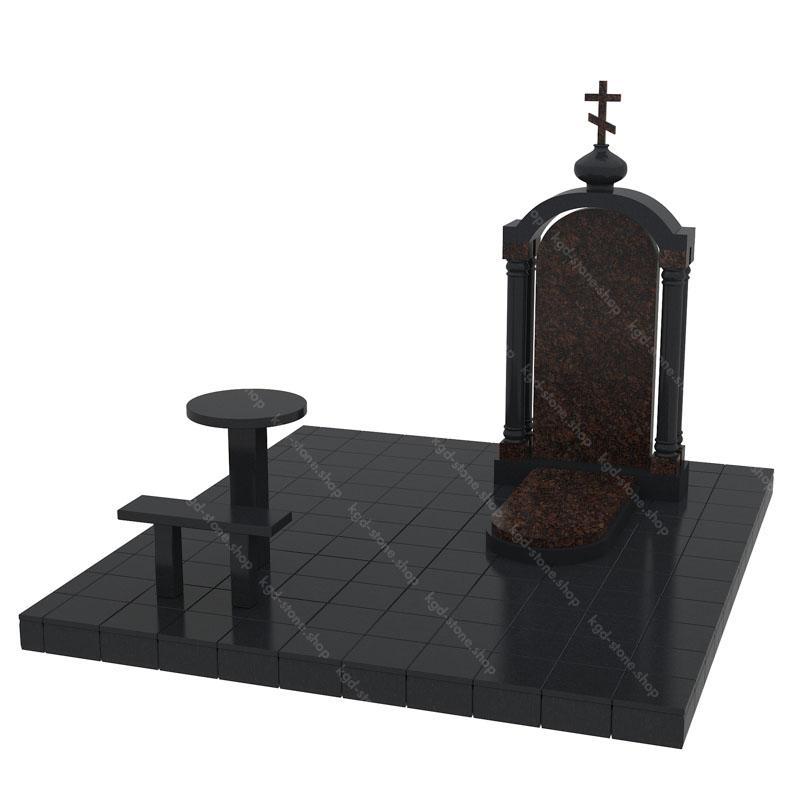 Купить комплекс гранитный из Габбро-Диабаза и коричневого дымовского гранита на могилу с доставкой